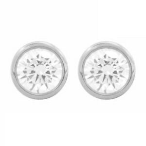 2 Ct Round Cut Earrings Diamond Studs 14K White Gold Brilliant Bezel Screw Back