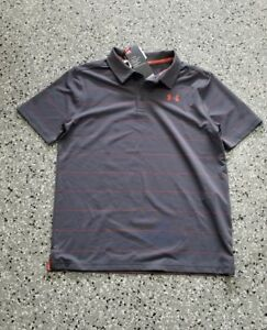 New Under Armour UPF 30 Youth Boys Golf Polo Striped Shirt T-Shirt Size: Large
