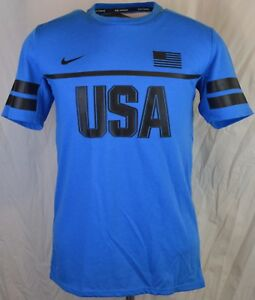 NEW NIKE DRY ENERGY USA RUNNING REFLECTIVE BLUE T-SHIRT MEN'S SMALL Dri-Fit S