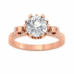Unique - 1.45 Carat Round Cut Diamond Designer Engagement Ring