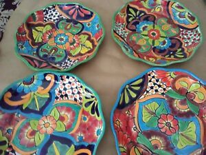 Set of 2 Mexican Talavera Platter Dish 12x2 Plates Floral Folk Art from Mexico