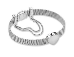 REFLEXIONS 925 Sterling Silver BRACELET & Heart CHARM & Safety Chain Love New