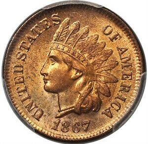 1867 1C MS65 Red PCGS Indian Head