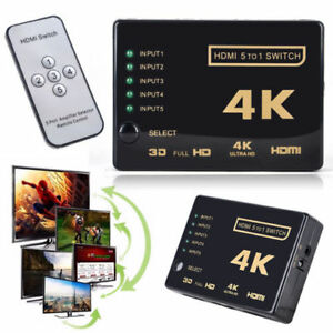 3D 1080p 5Port 4K HDMI Switch Switcher Selector Splitter Hub+IR Remote Fo HDTV E