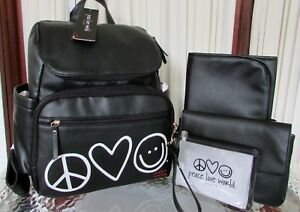 Peace Love World Baby Bag Backpack Diaper Travel Black & Wristlet NWT $150