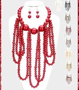 Bib Statement Chunky Multi Layered Long Beaded Strand Pearl Necklace Earrings