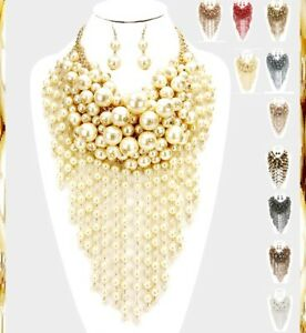 Bib Statement Chunky Multi Layered Fringe Beaded Strand Pearl Necklace Earrings