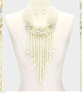 Statement Pearl Beaded Layered Long Necklace Chunky Strand Fringe Choker Bib SET
