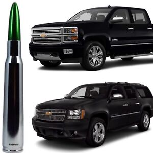 Chrome and Green Tip Bullet Antenna for Chevy Silverado Tahoe Avalanche Suburban
