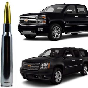 Chrome with Gold Tip Bullet Antenna for Chevy Silverado Tahoe Avalanche Suburban