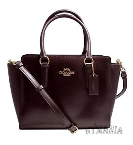 NWT Coach F31357 LEAH Patent Leather Satchel Crossbody Bag Oxblood $375