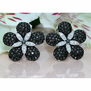 1.30Ct Round Cut Black Diamond Clip-On Stud Earrings Solid 14K White Gold Finish
