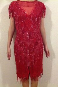 Vintage Scala Beaded Sequin Cocktail Dress Red Medium