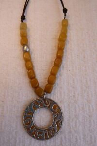 Retired Silpada N1837 Yellow Serpentine Necklace Sterling SilverLeather
