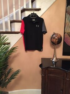 "UNDER ARMOUR BOY'S Black Red GOLF COLLARED SHIRT SHORT SLEEVE SZ XLG ""excellent"""
