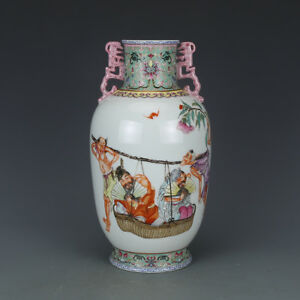 Rare Chinese Antique Qing Dynasty Famille-Rose Porcelain Figure Vase