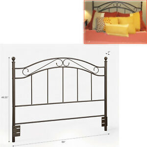 METAL HEADBOARD BED Full Queen Size Bedroom Frame Traditional Black Scrolled