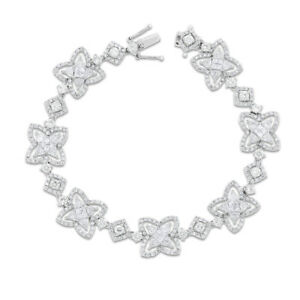 6.23 Ct. Natural Superfine Diamond Star Design Bracelet In Solid 18k White Gold
