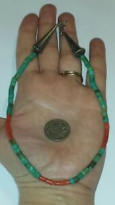 Old Pawn Navajo Turquoise Coral & Sterling Silver Heishi Necklace ~15