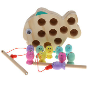 10pcs Fish 2 Fishing Rods 1 Pool Wooden Creative Fishing Game Toy for Kid