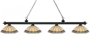 Filament Design Porter 4-Light Matte Black Billiard Light with Multi Colored