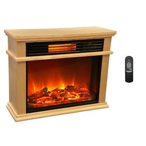 Large Mantle Portable Electric Infrared Quartz Fireplace Heater with Remote NEW