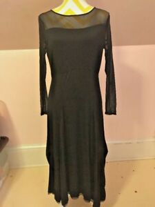 Stella Carakasi Long Black Sheer Sleeve Neckline Dress Cocktail Party Size S NWT