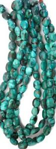 Genuine Turquoise Irregular Puffed Oval Nugget Beads 16in Strands
