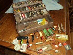 Vintage Metal Tackle Box Full of Old Fishing Lures lure lot hooks