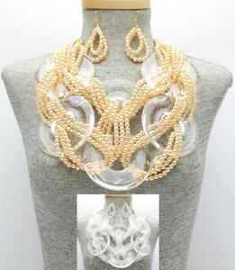 Statement Chunky Oversized Lucite Clear Beaded Braid Chain Bib Necklace Earrings