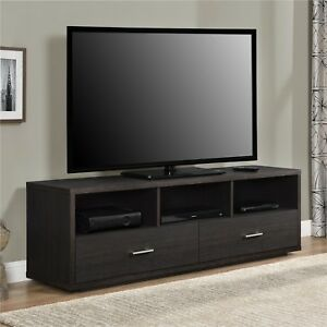 TV Stand up to 70 Black Espresso Modern Design Sleek Profile and amp; Cable