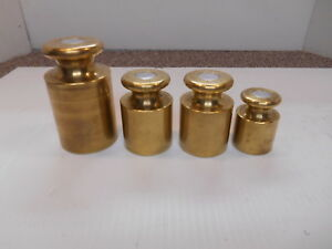 VINTAGE OHAUS 2 KG 1 KG 500 KG BRASS SCALE WEIGHTS