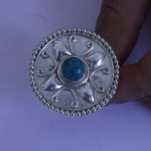 TURQUOISE STONE RING SOLID 925 STERLING SILVER MOONSTONE RING SIZE 3 tO 13