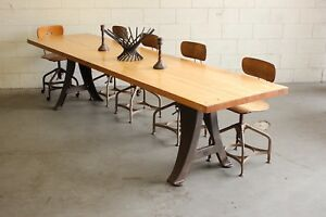 Vintage Industrial 10' Conference Boardroom Dining Table Butcher Block Cast Iron