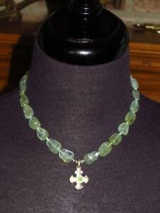 LEE BREVARD Silver Temple Cross Light Green Stone Bead Necklace