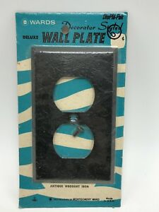 Vintage 1961 Wards Antique Wrought Iron Wall Plate Outlet Cover Black NOS