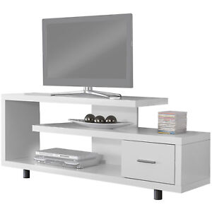 TV STAND CONSOLE Entertainment Center Wood Shelves Modern Drawer Table White