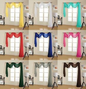 Decotex Premium Quality Sheer Voile Scarf Valance for Home Window