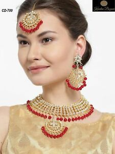 Kundan Red Pearl Choker Necklace Earring Set Indian Bollywood Bridal Jewelry