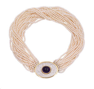 Women's Estate 3.0ct Diamond Amethyst & Pearl Choker Necklace14k Yellow Gold