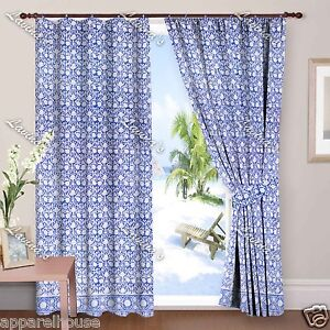 Indian Floral Block Print Window Curtain Door Valances Drapery Panel Covering up