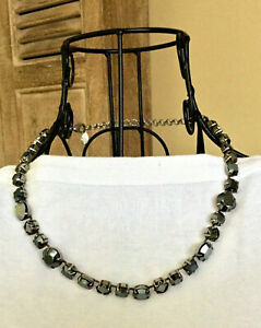 Authentic SORRELLI Necklace Pierced Earrings Set Black Silver