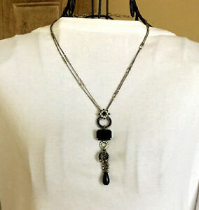 Authentic Mariana Black Silver Necklace Rings Earrings Set
