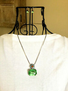Authentic Mariana Black Silver Necklace and Earrings Set Green Orange