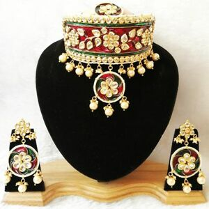 Indian Meena Kundan Traditional Red Choker Necklace Earrings Tikka Jewelry Set