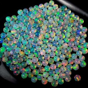 3MM TO 8MM NATURAL ETHIOPIAN WELO FIRE OPAL ROUND BALL BEADS DRILLEDUNDRILLED