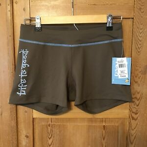NWT Life Is Good Tech Workout Running Shorts Stretch Spandex Brown Logo Sz S 3""