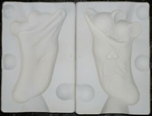 Alberta's molds for ceramic castings - #A-171 - Two Mice in Sock - Xmas ornament