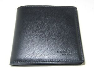 Coach Men's F75084 Double Billfold Wallet Black Sport Calf Leather New NWT $150