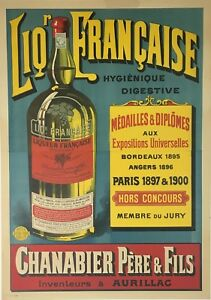 Liqueuer Francaise Original French Stone Lithograph ca.1900 2 sheet Bordeaux